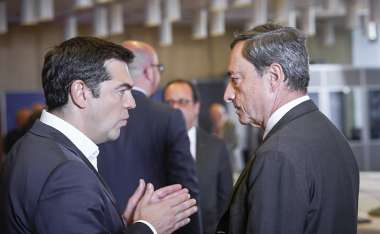 Image: Alexis Tsipras, Prime Minister of Greece, in discussion with Mario Draghi, President of the European Central Bank, at the Euro Summit, Brussels, 7 July 2015. © European Union