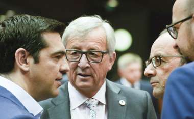 Image: Alexis Tsipras, Prime Minister of Greece, Jean-Claude Juncker, President of the European Commission, François Hollande, President of the French Republic, and Charles Michel, Prime Minister of Belgium, at the Eurozone Summit, Brussels, 12 July 2015. © European Union