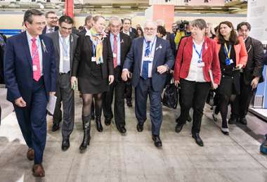 Image: Carole Dieschbourg, Minister for the Environment of Luxembourg representing the Presidency of the Council of the EU, and Commissioner Miguel Arias Cañete lead representatives of the High Ambition Coalition at the climate change conference in Paris, France, 12 December 2015. © European Union