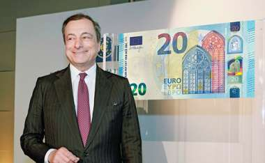 Image: European Central Bank President, Mario Draghi, unveils the new €20 banknote, Frankfurt, Germany, 24 February 2015. © European Central Bank