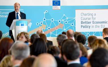 Image: Commissioner Pierre Moscovici addresses a conference on 'Charting a Course for Better Economic Policy in the EU', Brussels, 4 June 2015. © European Union