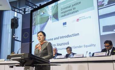 Image: Commissioner Vĕra Jourová addresses the High-Level Ministerial Conference on the criminal justice response to radicalisation, Brussels, 19 October 2015. © European Union