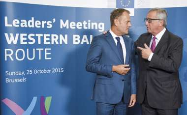 Image: Donald Tusk, President of the European Council, and Jean-Claude Juncker, President of the European Commission, at the start of the leaders' meeting on the western Balkans route, Brussels, 25 October 2015. © European Union