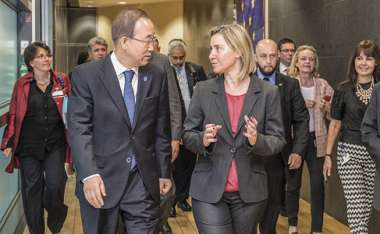 Image: Ban Ki-moon, Secretary General of the United Nations, meets with High Representative/Commission Vice-President Federica Mogherini, Brussels, 27 May 2015. © European Union