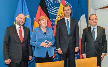 Image: European Parliament President Martin Schulz, German Chancellor Angela Merkel, His Majesty King Felipe VI of Spain, and French President François Hollande, at the European Parliament, Strasbourg, 7 October 2015. © European Union