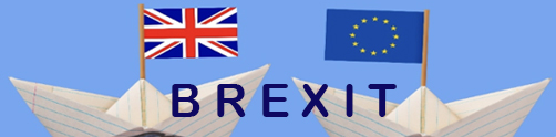 image for Brexit page: a paperboat with flag of the UK, another paperboat with flag of EU. And the word Brexit