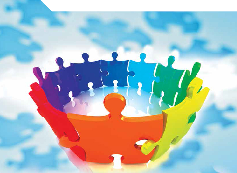 image for Partnership page: pieces of jigsaw puzzle join symbolic hands to join in a circle, representing partnership
