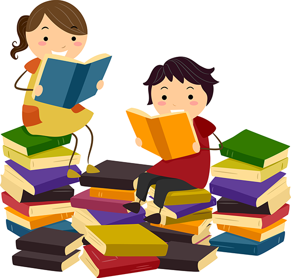 Image for Kids Corner page: Kids engrossed in reading, comfortably installed amid a pile of books