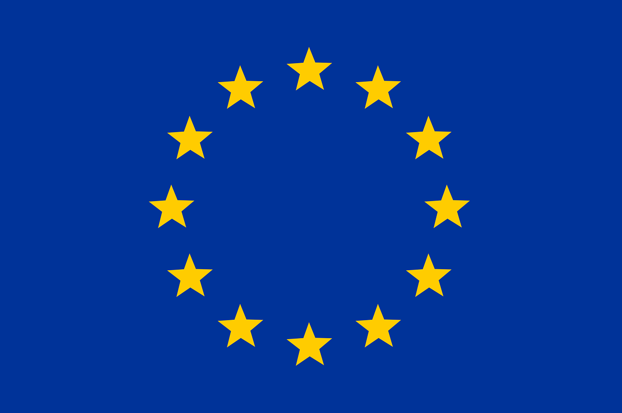 The EU at a glance, showing flags, and country outlines