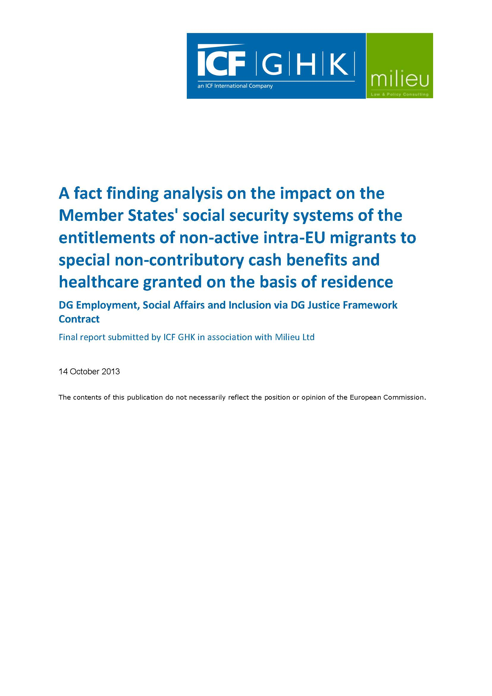 A fact finding analysis on the impact on the Member States